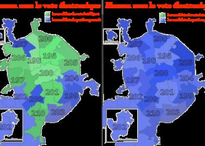 À gauche sans le vote électronique et, à droite, avec. En vert, les régions où les candidats du vote intelligent ont gagné et en bleu, où ce sont les candidats du parti au pouvoir.